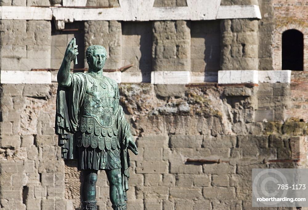 Statue of Roman soldier in front of Trajan's Forum, Via Dei Fori Imperiali, Rome, Lazio, Italy, Europe