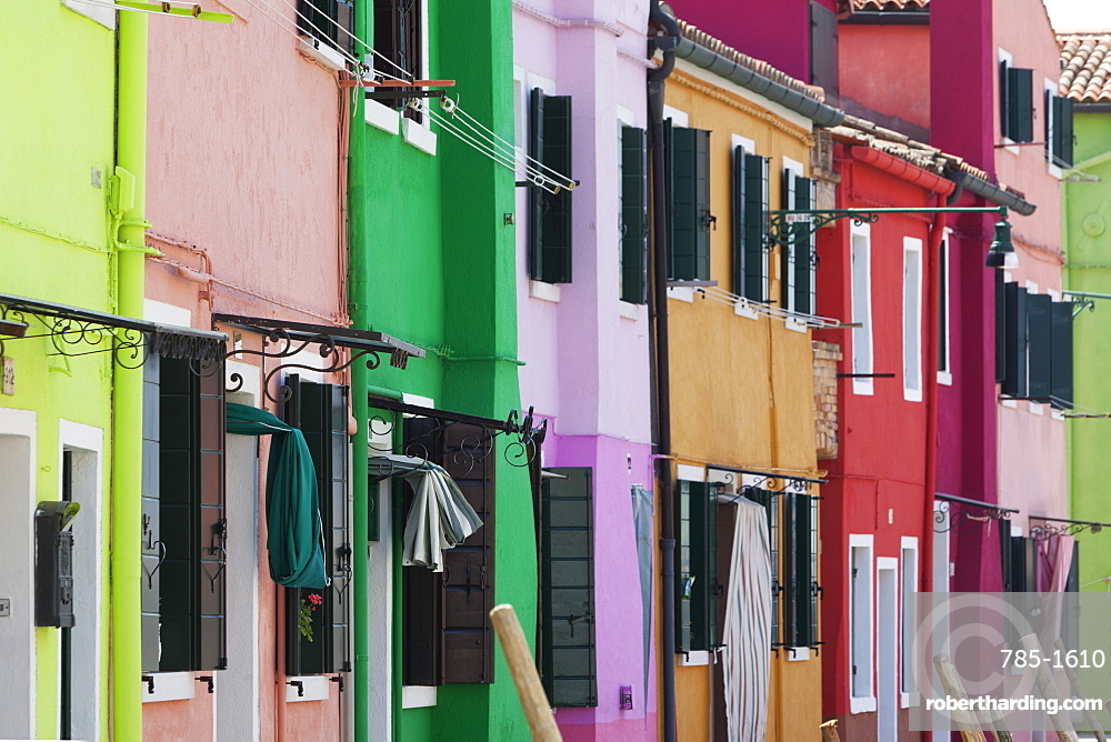 Traditional colourful houses in Burano, Venice, UNESCO World Heritage Site, Veneto, Italy, Europe