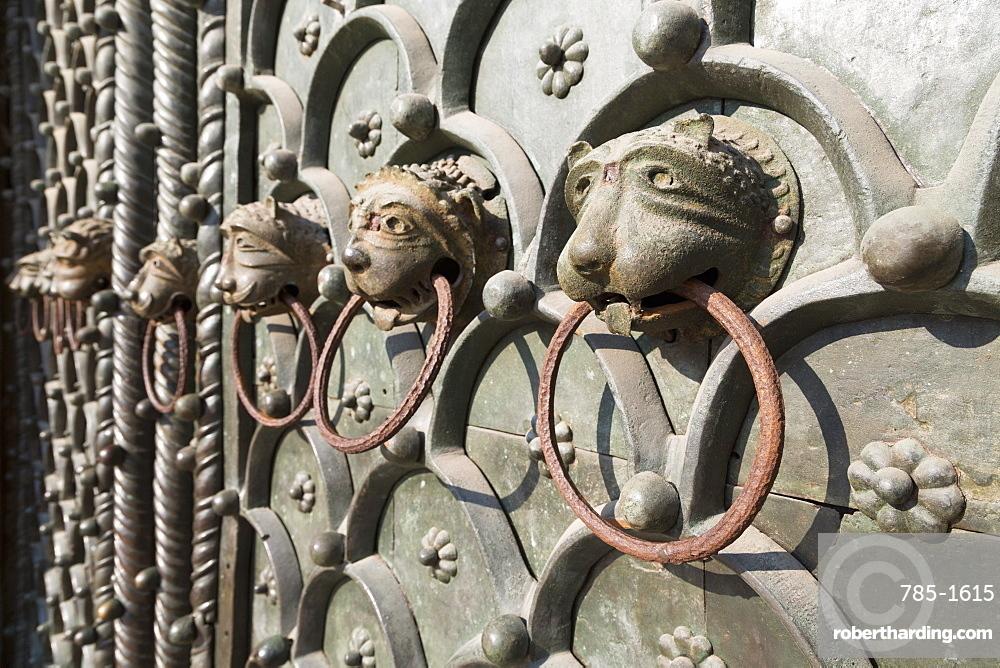 Detail of door of Basilica di San Marco (St. Mark's Basilica), St. Mark's Square, Venice, UNESCO World Heritage Site, Veneto, Italy, Europe