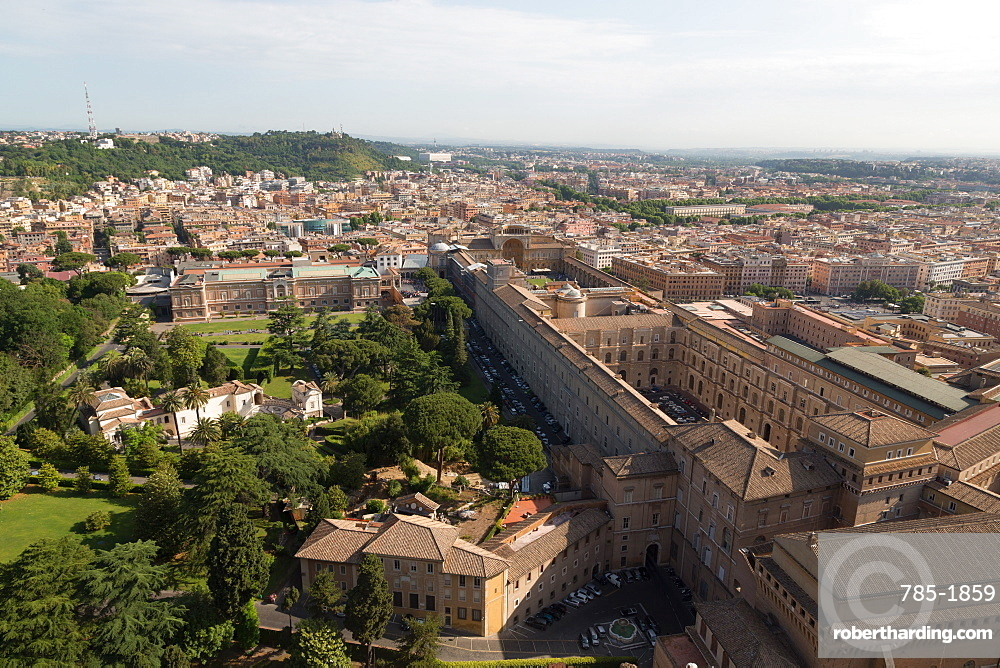 The Vatican Museum from the dome of St. Peter's Basilica, Vatican, Rome, Lazio, Italy, Europe