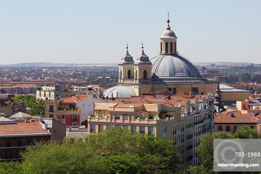 Basilica de San Francisco el Grande seen from the rooftop of Catedral de la Almudena in Madrid, Spain, Europe