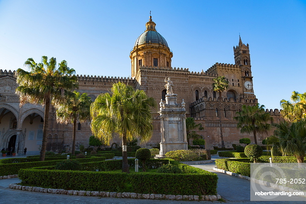 Gardens and the Cathedral in Palermo, Sicily, Italy, Europe