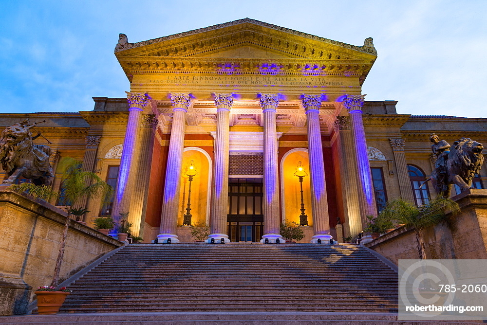 Entrance to Teatro Massimo at night, one of the largest opera houses in Europe, Palermo, Sicily, Italy, Europe