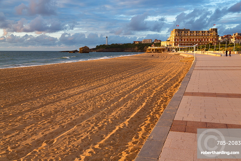 The sandy beach and promenade in Biarritz, Pyrenees Atlantiques, Aquitaine, France, Europe