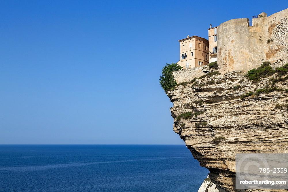 The Citadel and old town of Bonifacio perched on rugged cliffs, Bonifacio, Corsica, France, Mediterranean, Europe