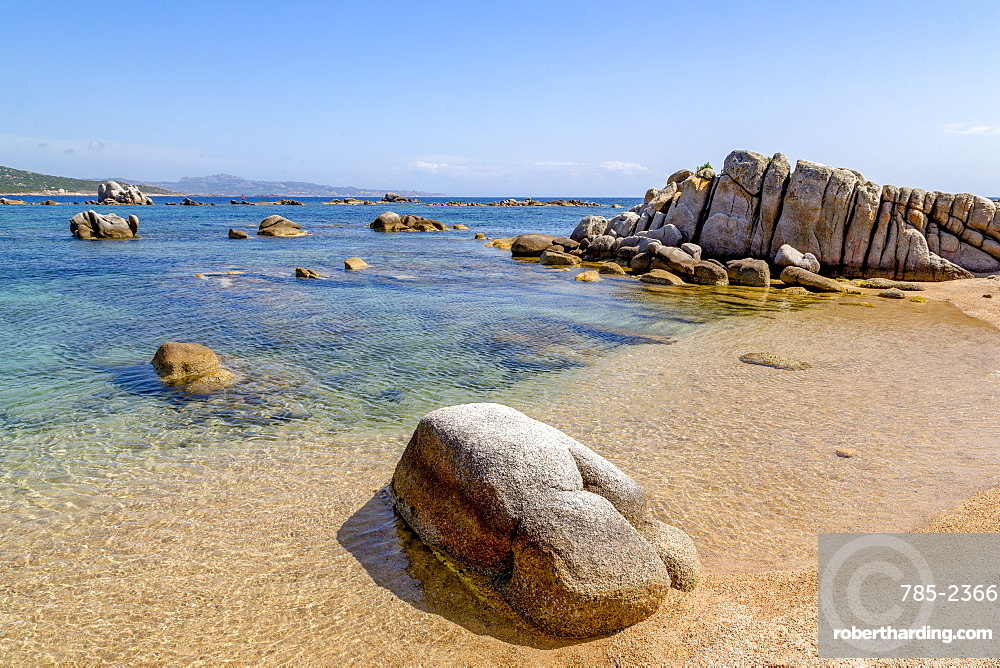 Beautiful eroded rocks at Plage de San Giovanni, Corsica, France, Mediterranean, Europe