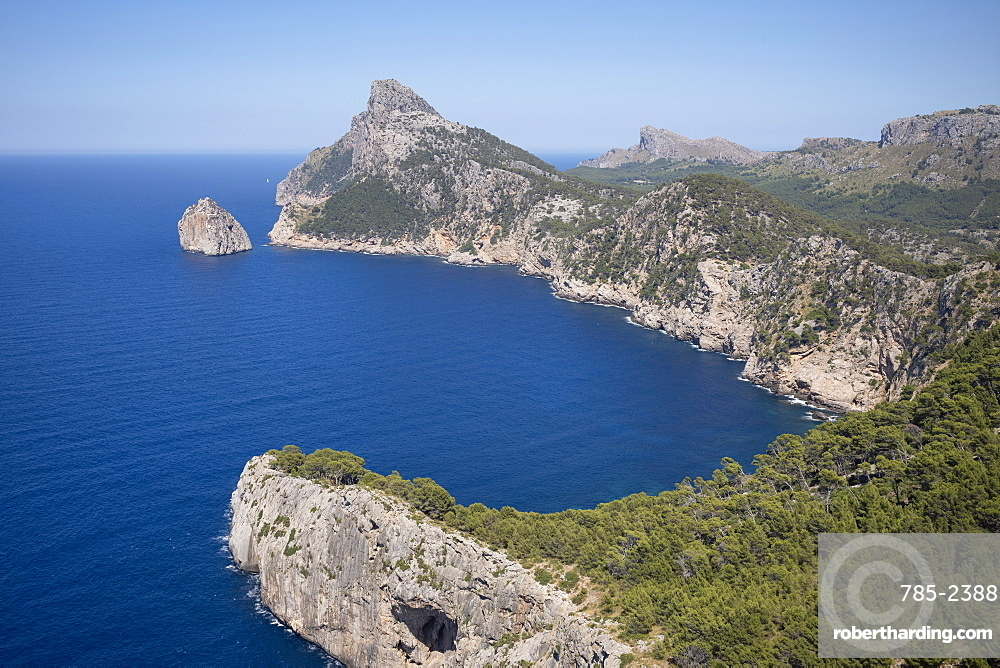 Rugged headland at Cap de Formentor seen from Mirador es Colomer on the northern coast of the Mediterranean island of Mallorca