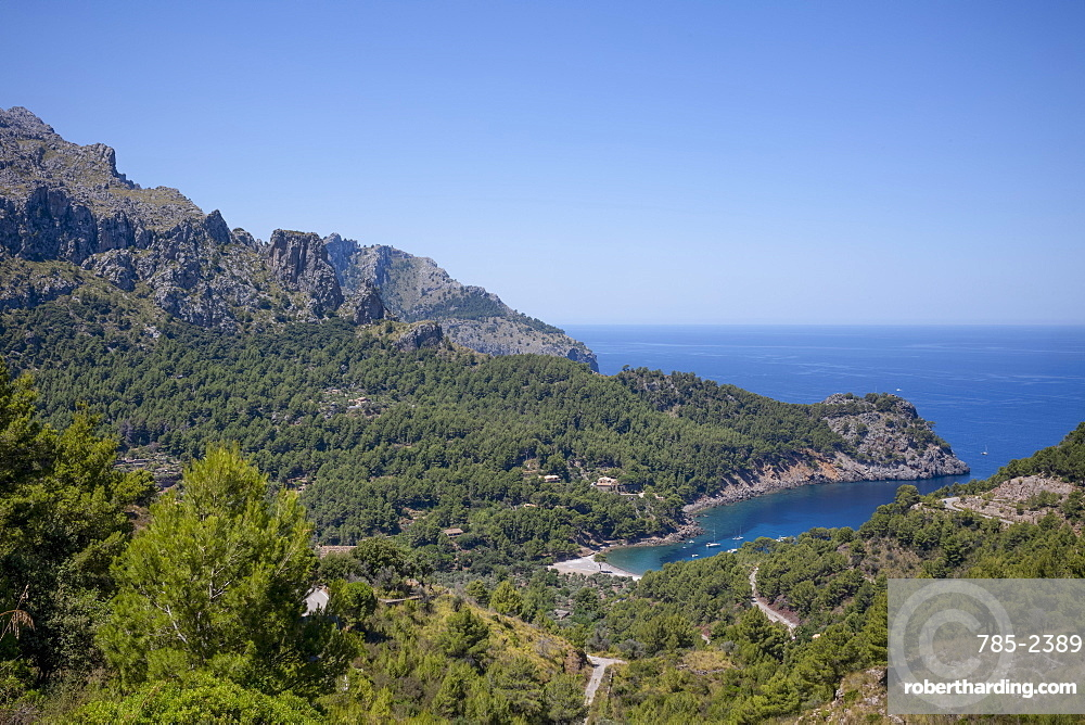 The secluded bay of Cala Tuent on the rugged north west coast of the Mediterranean island of Mallorca