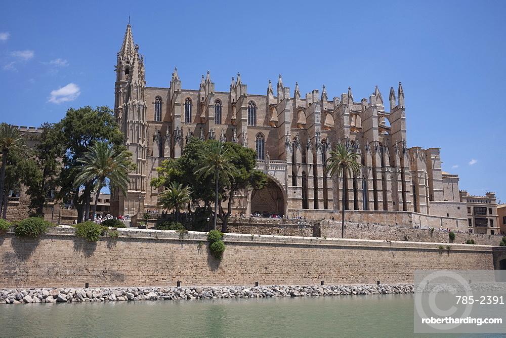 The gothic cathedral of Santa Maria of Palma (La Seu) in Palma on the Mediterranean island of Mallorca