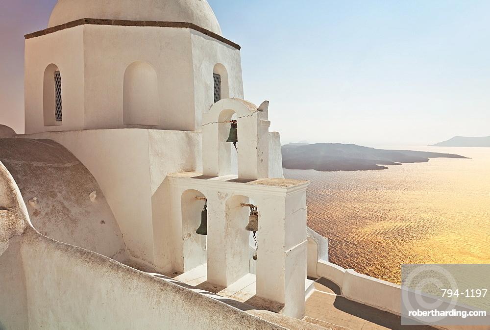 Greek Orthodox Church in Fira, Santorini (Thira), Cyclades Islands, Aegean Sea, Greek Islands, Greece, Europe