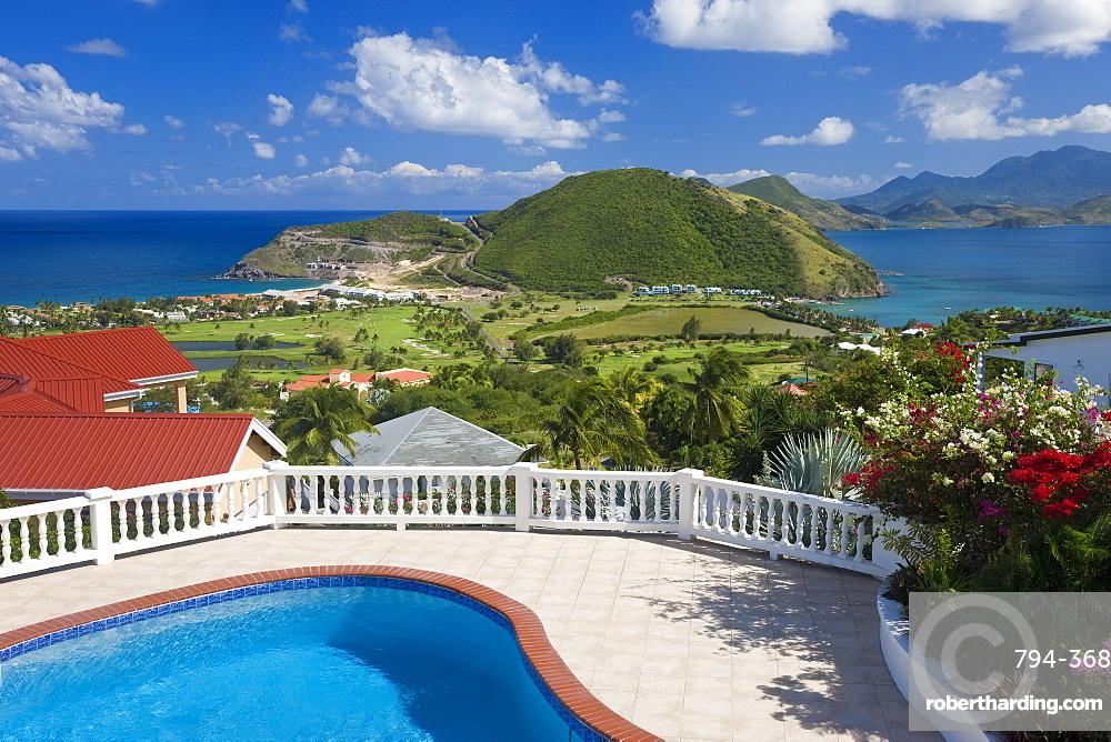New luxury housing overlooking Frigate Bay on southeast peninsula, St. Kitts, Leeward Islands, West Indies, Caribbean, Central America