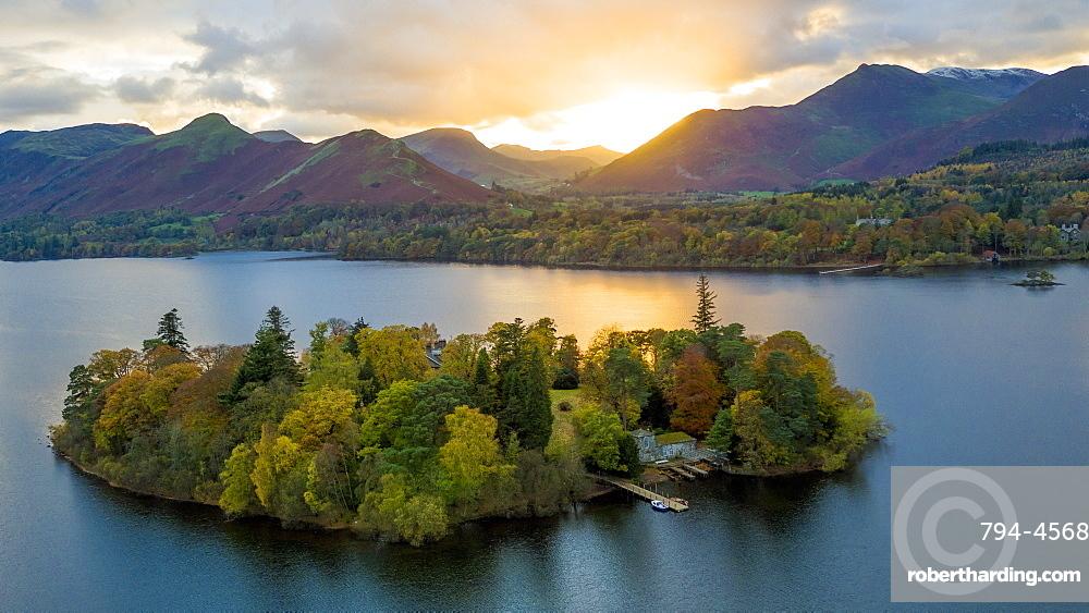 Derwent Water, Lake District National Park, UNESCO World Heritage Site, Cumbria, England, United Kingdom, Europe (Drone)