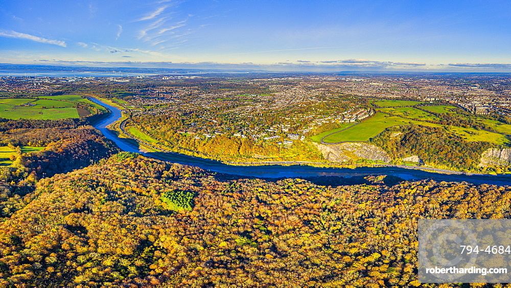 Aerial view over the Avon Gorge, the Downs and city centre, Bristol, England, United Kingdom, Europe