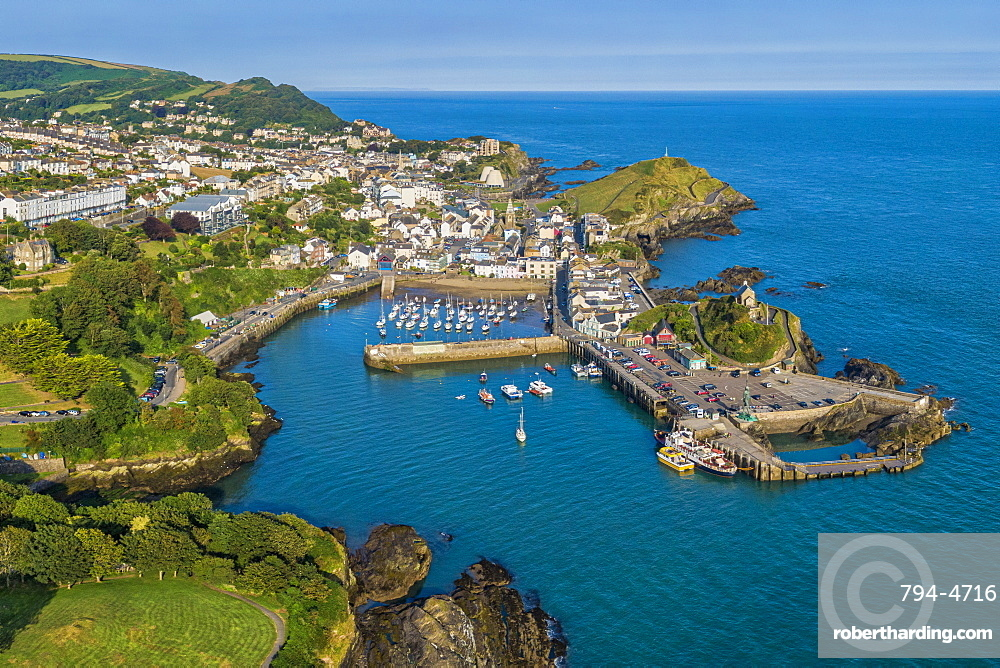 Aerial view over the town of Ilfracombe, North Devon coast, Devon, England, United Kingdom, Europe