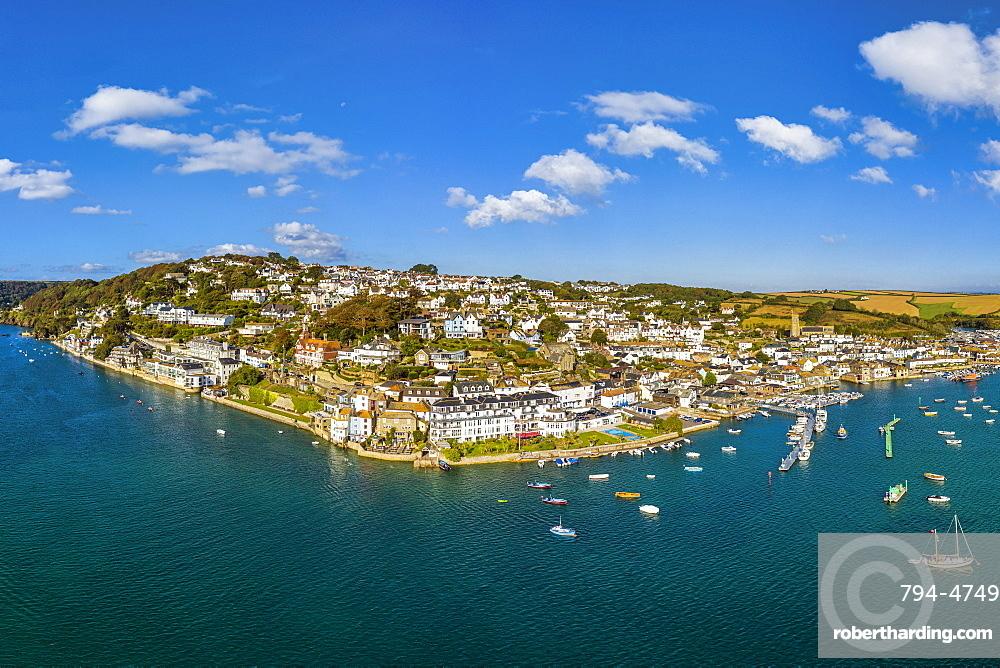 Aerial view of Salcombe on the Kingsbridge Estuary, Devon, England, United Kingdom, Europe
