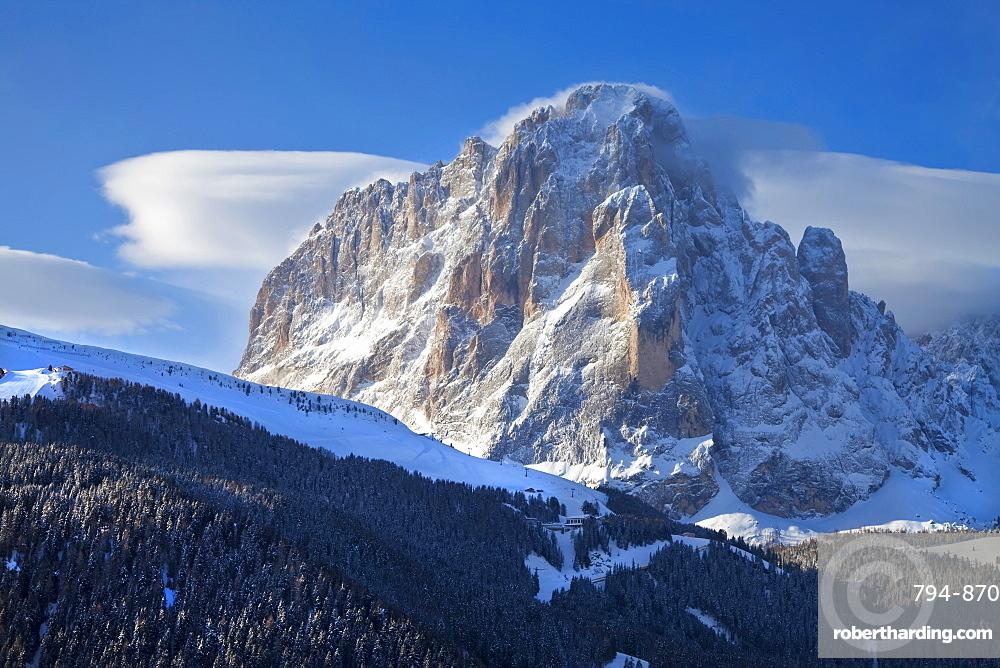 Sassolungo mountain, 3181m, Val Gardena, Dolomites, South Tirol, Trentino-Alto Adige, Italy, Europe