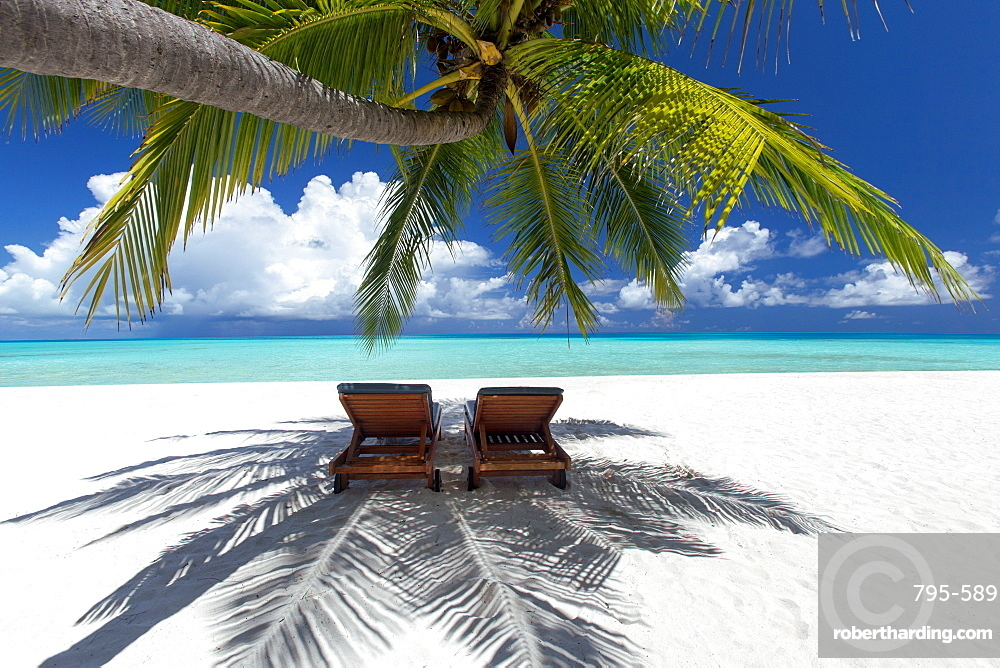 Two deck chairs under palm trees and tropical beach, The Maldives, Indian Ocean, Asia