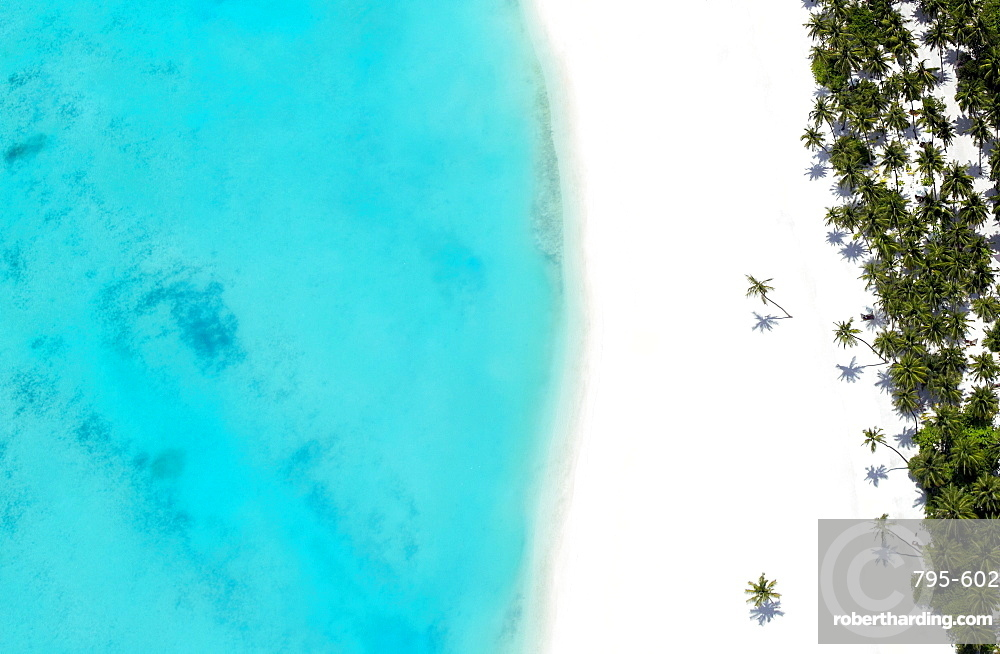 Aerial view of tropical beach and lagoon, The Maldives, Indian Ocean, Asia