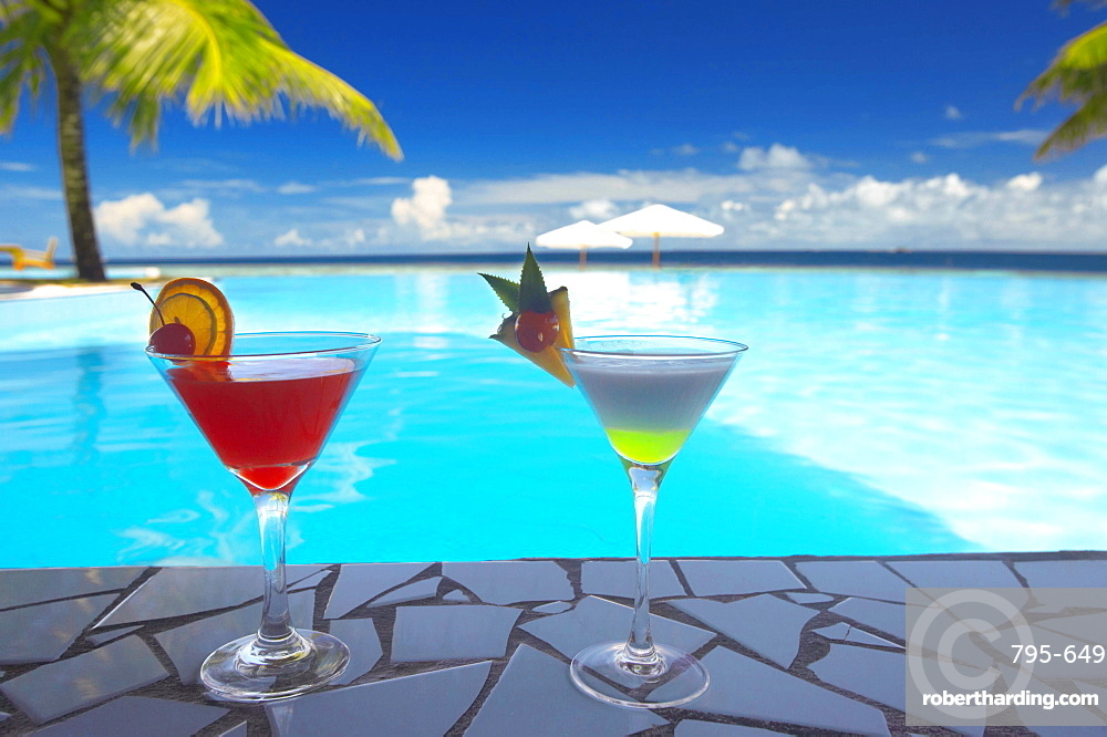 Cocktails by the pool, The Maldives, Indian Ocean, Asia