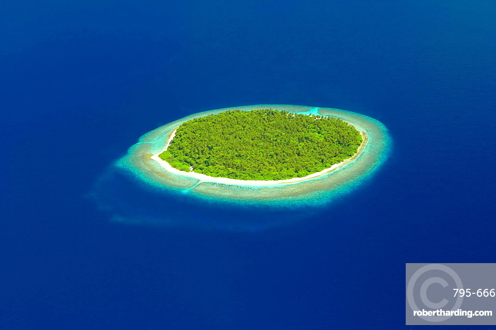 aerial view of a Dessert Island In Maldives, Indian Ocean, Asia