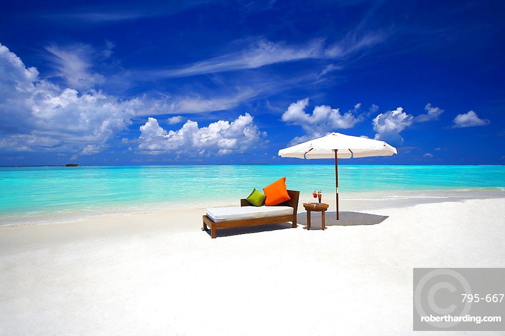 Sofa and tropical beach, The Maldives, Indian Ocean, Asia