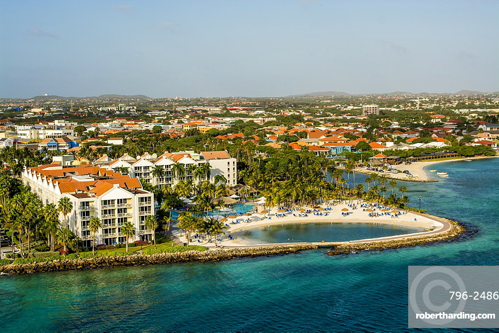 Aerial view of resort Oranjestad, Aruba, ABC Islands, Dutch Antilles, Caribbean, Central America