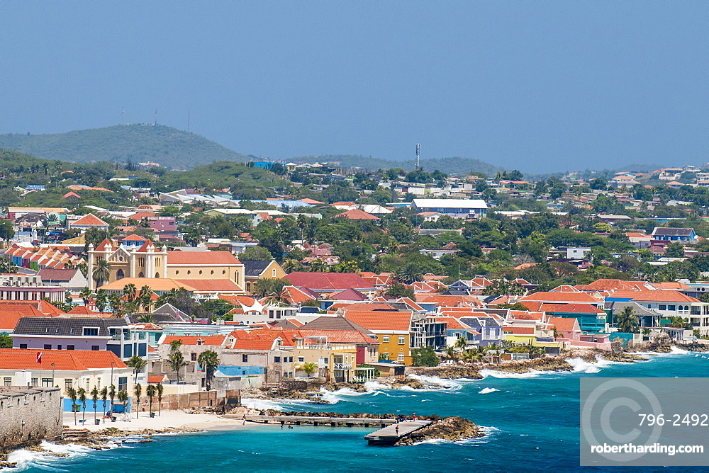 Aerial view of capital city Willemstad, Curacao, ABC Islands, Dutch Antilles, Caribbean, Central America