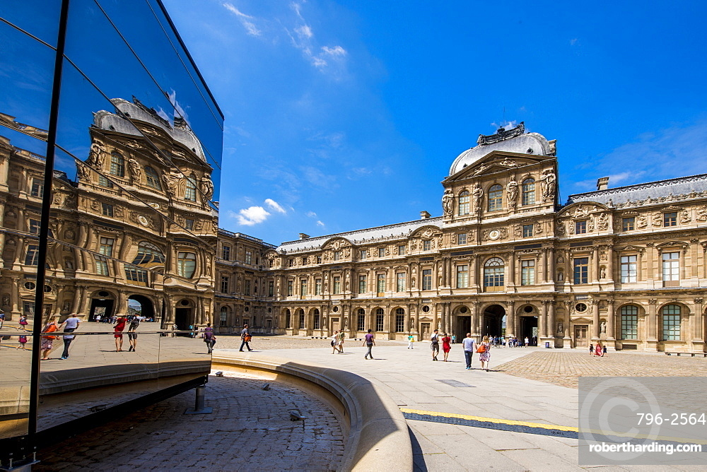 Reflections of the Cour Carree courtyard in the Lourve, Paris, France, Europe