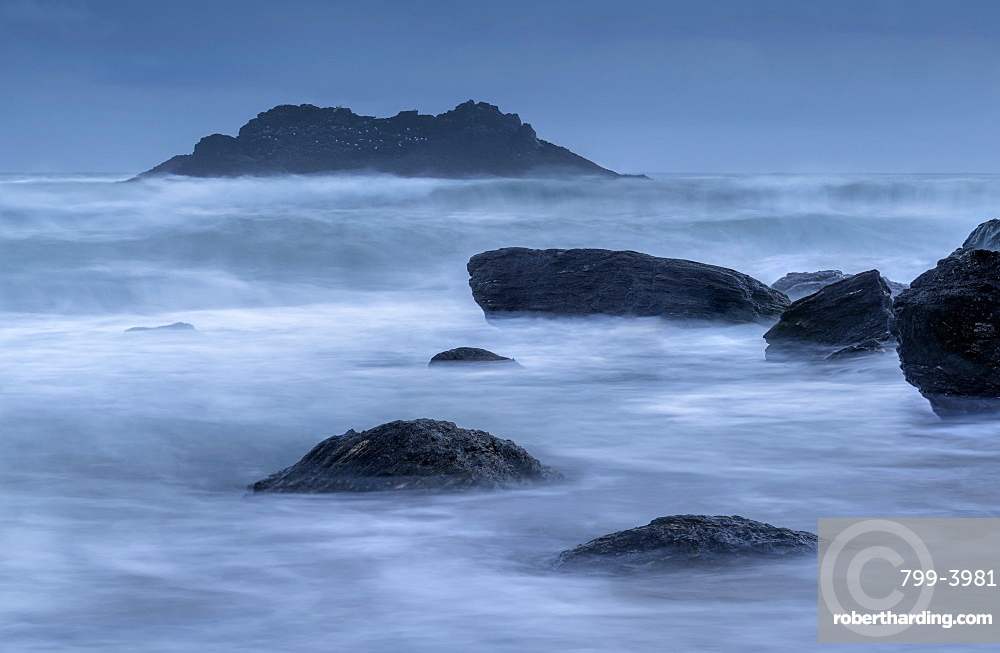 Stormy winter evening at Soar Mill Cove in the South Hams, Devon, England, United Kingdom, Europe