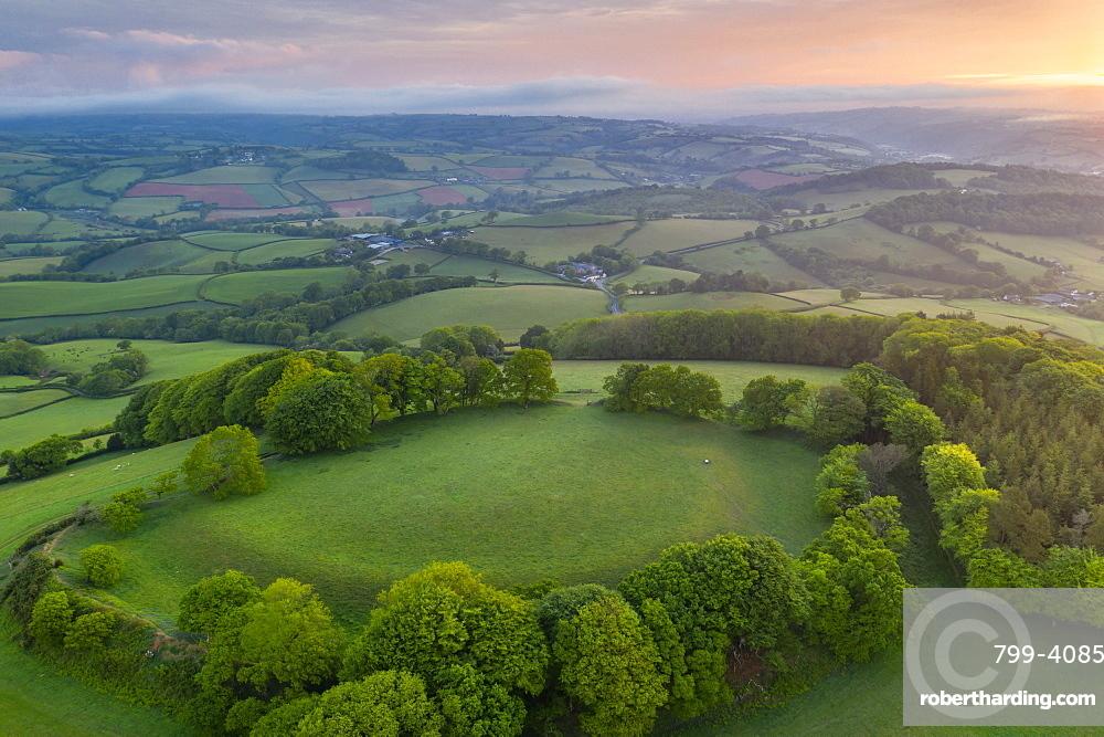 Cadbury Castle Iron Age Hillfort at dawn in spring, Cadbury, Devon, England, United Kingdom, Europe