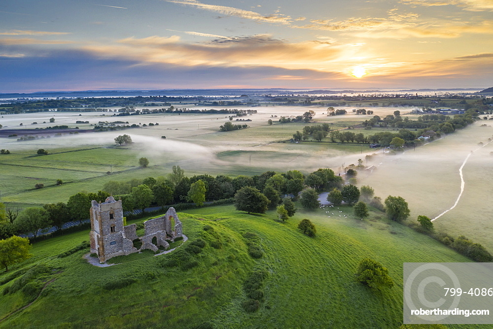 The ruins of St Michael's Church at sunrise in spring, Burrow Mump, Somerset, England, United Kingdom, Europe