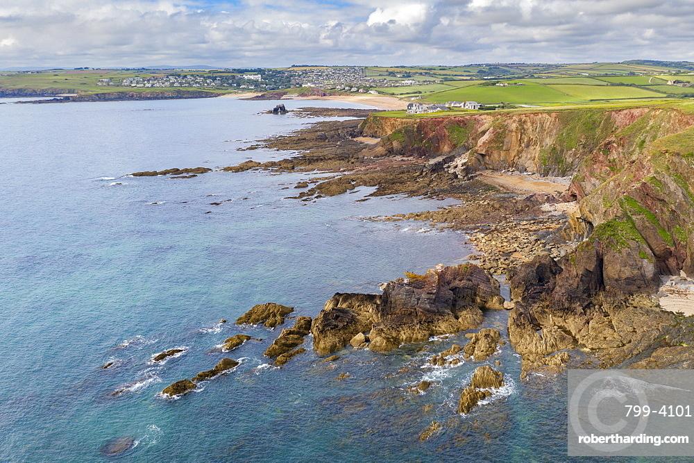 Aerial vista of Thurlestone Bay and village in the South Hams, Devon, England, United Kingdom, Europe