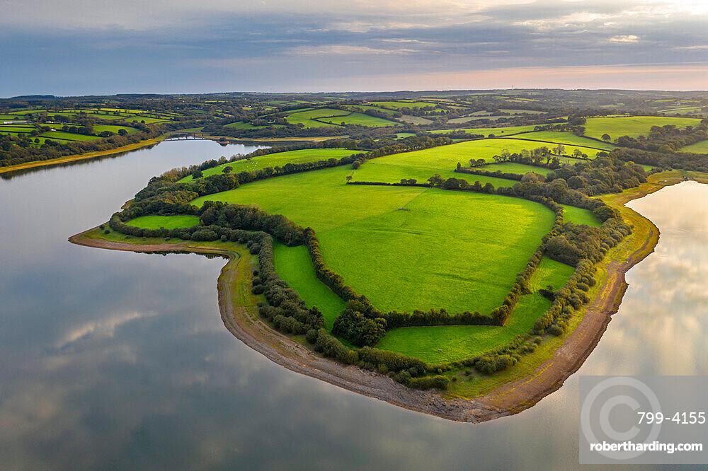 Aerial vista over Roadford Lake, Devon, England, United Kingdom, Europe