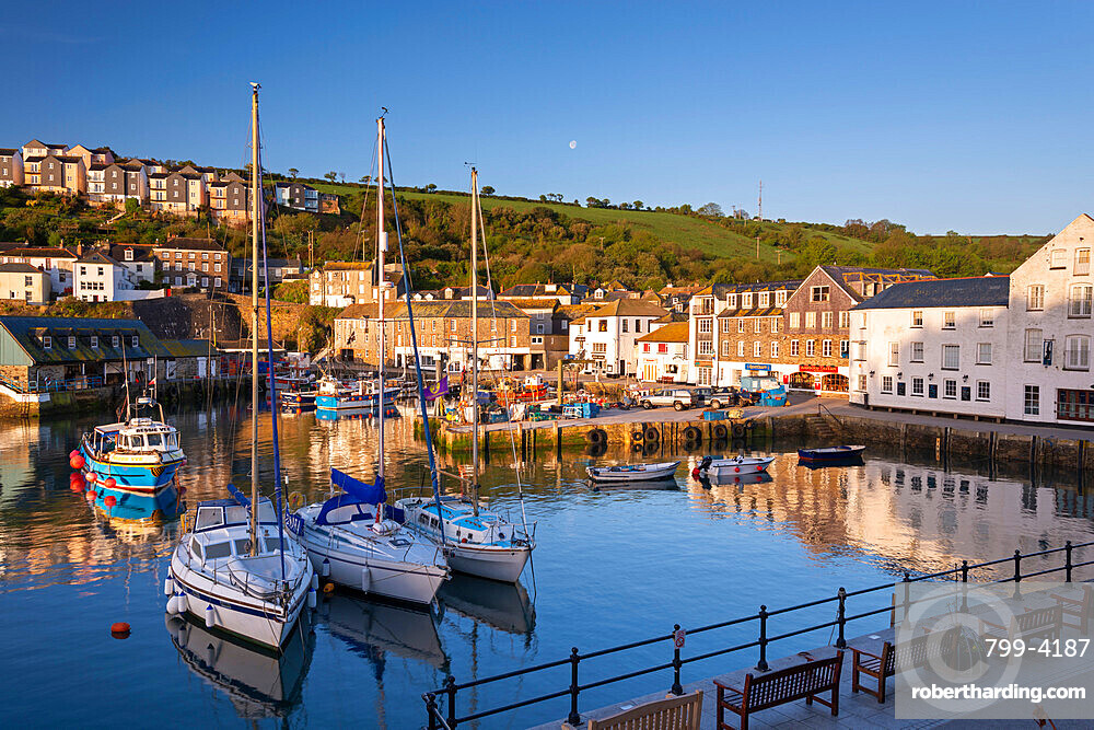 Boats moored in Mevagissey Harbour, Cornwall, England, United Kingdom, Europe
