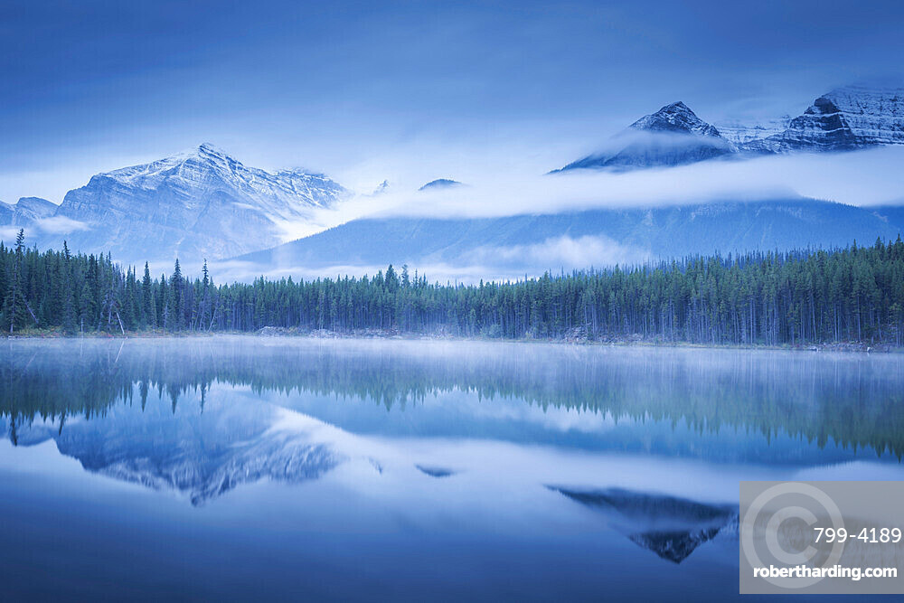 Moody misty morning at Herbert Lake in the Canadian Rockies, Banff National Park, UNESCO World Heritage Site, Alberta, Canada, North America