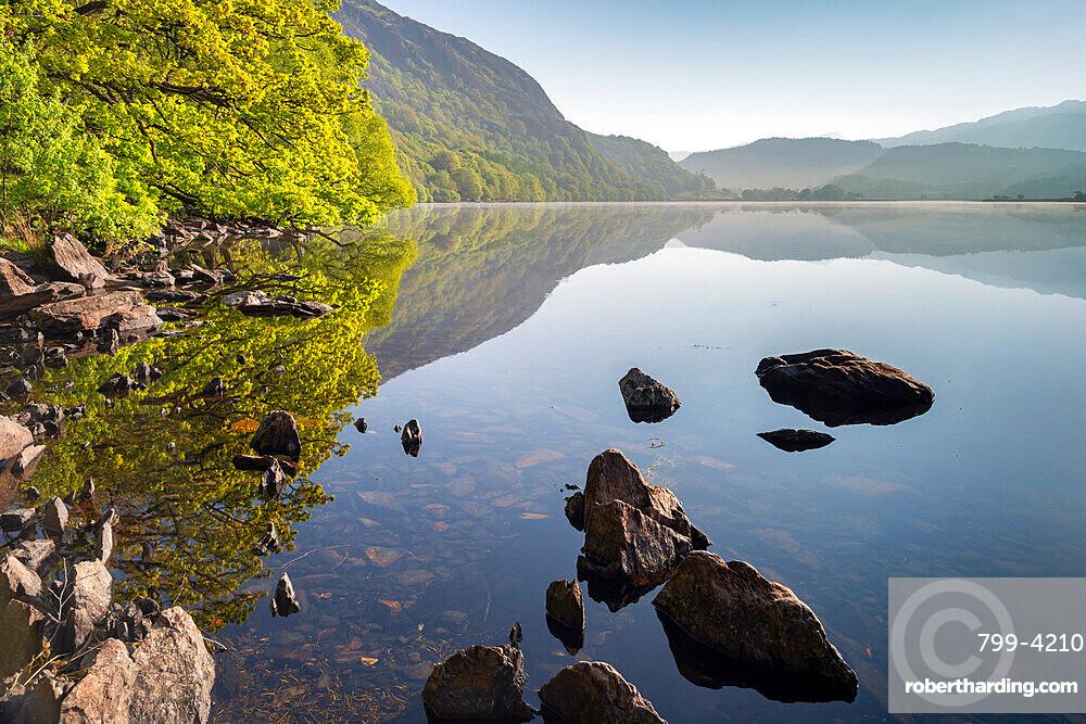 Peaceful Llyn Dinas on a still spring morning, Snowdonia National Park, Wales, United Kingdom, Europe