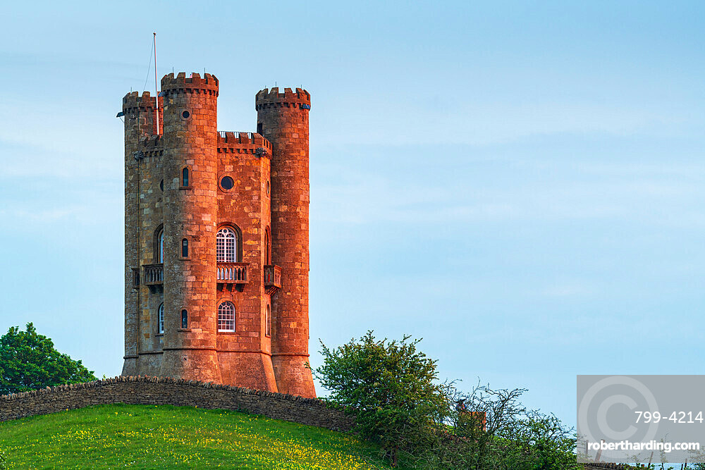 Late evening sunlight on Broadway Tower in the Cotswolds in spring, Gloucestershire, England, United Kingdom, Europe