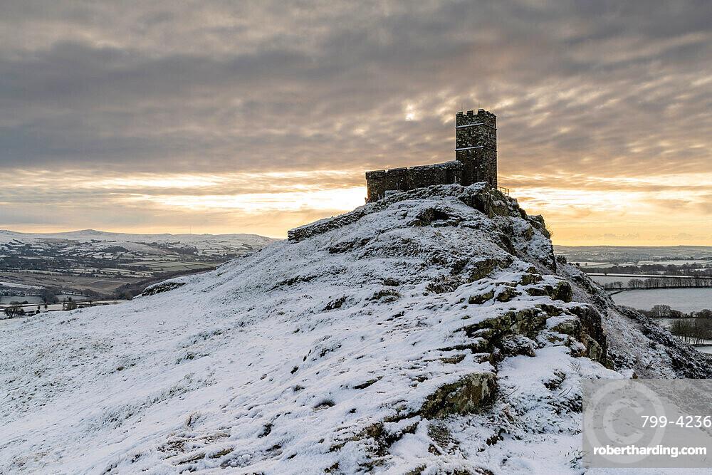 Brentor Church on a snowy outcrop on a winter morning, Dartmoor, Devon, England, United Kingdom, Europe