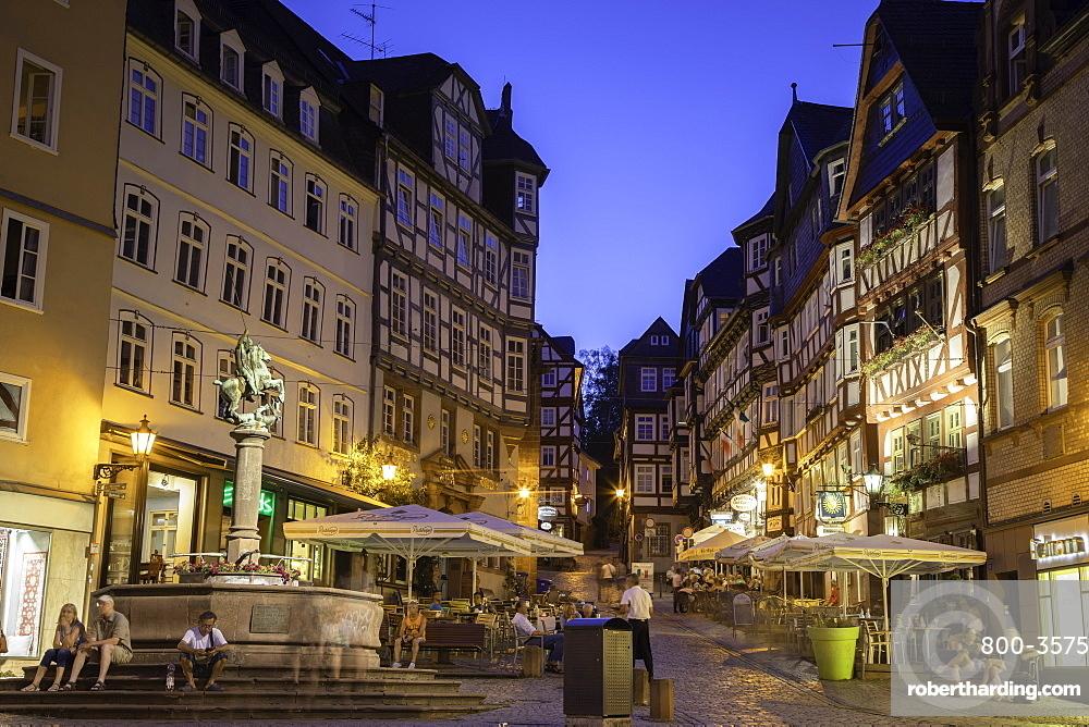 Market Square (Markt) at dusk, Marburg, Hesse, Germany, Europe