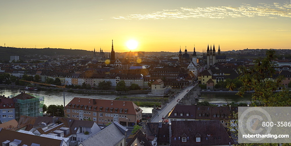 View over Wurzburg at sunrise, Wurzburg, Bavaria, Germany, Europe