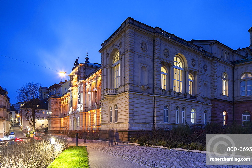 Friedrichsbad (Fredericks bathhouse) at dusk, Baden-Baden, Baden-Wurttemberg, Germany, Europe