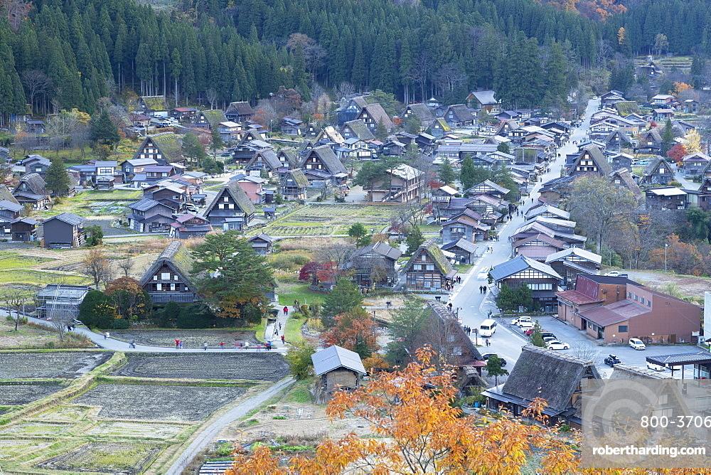 Elevated view of Ogimachi (UNESCO World Heritage Site), Shirakawa-go, Toyama Prefecture, Japan