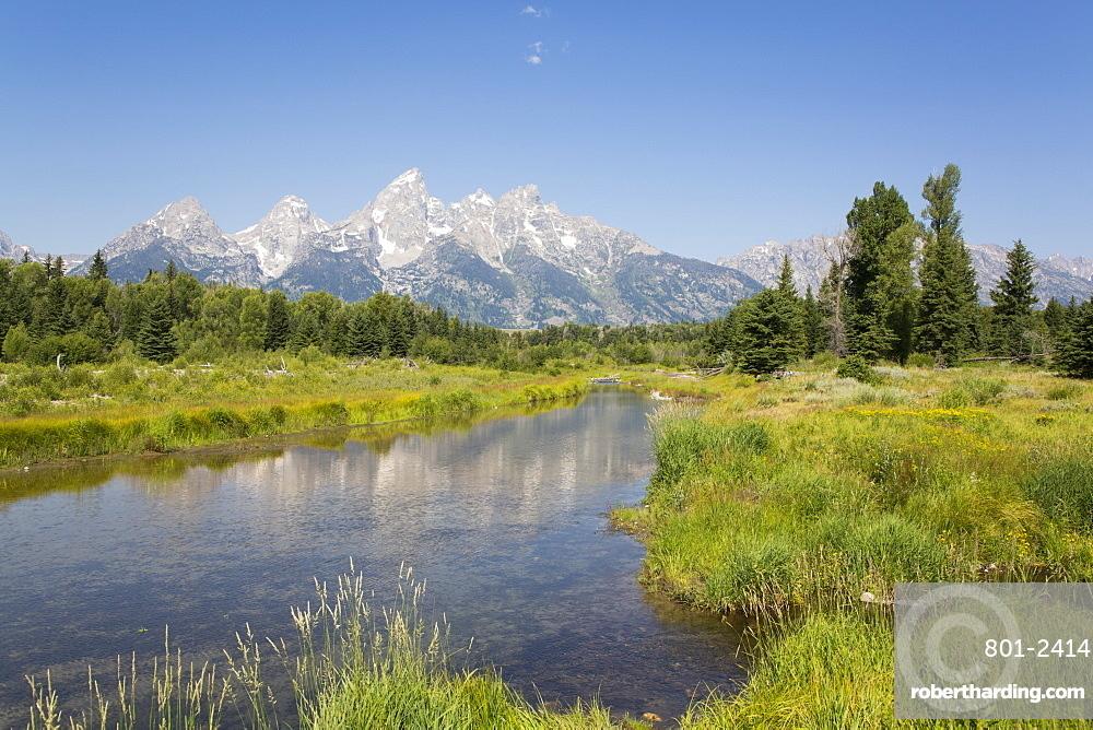Teton Range from Schwabache Landing, Grand Teton National Park, Wyoming, United States of America, North America