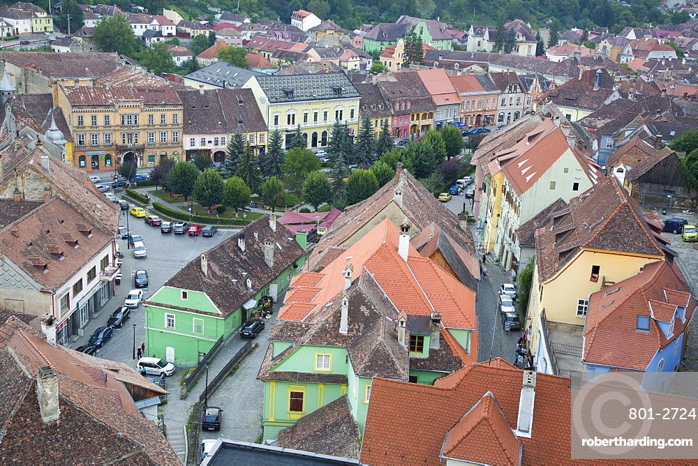 Overview, Sighisoara, UNESCO World Heritage Site, Mures County, Transylvania Region, Romania