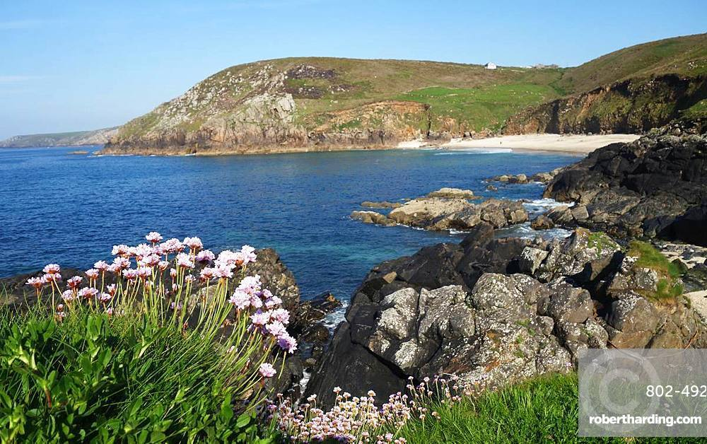 Portheras Cove, one of England's wildest beaches, West Penwith, Cornwall, England, United Kingdom, Europe