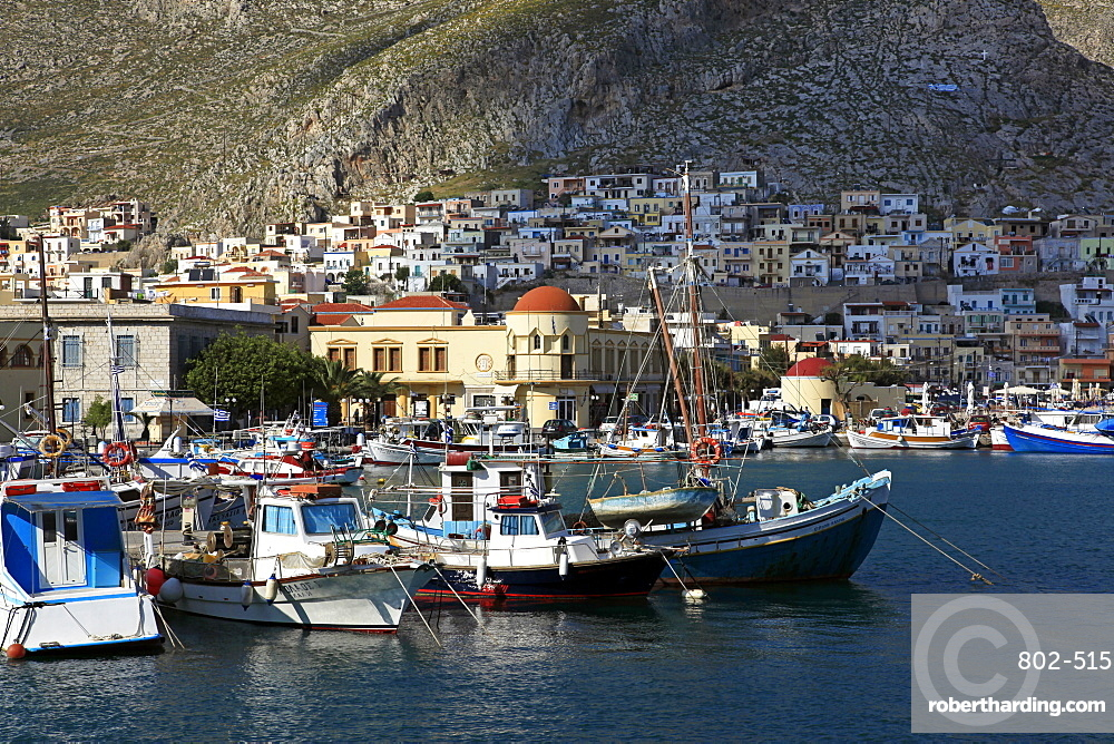 The harbour of Pothia, Kalymnos, Dodecanese, Greek Islands, Greece, Europe