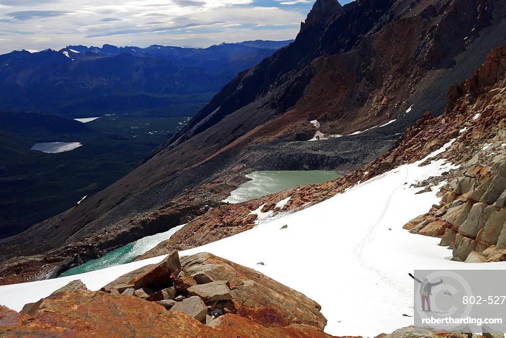 Climber on a glacier, El Chalten massif, Patagonia, Argentina, South America