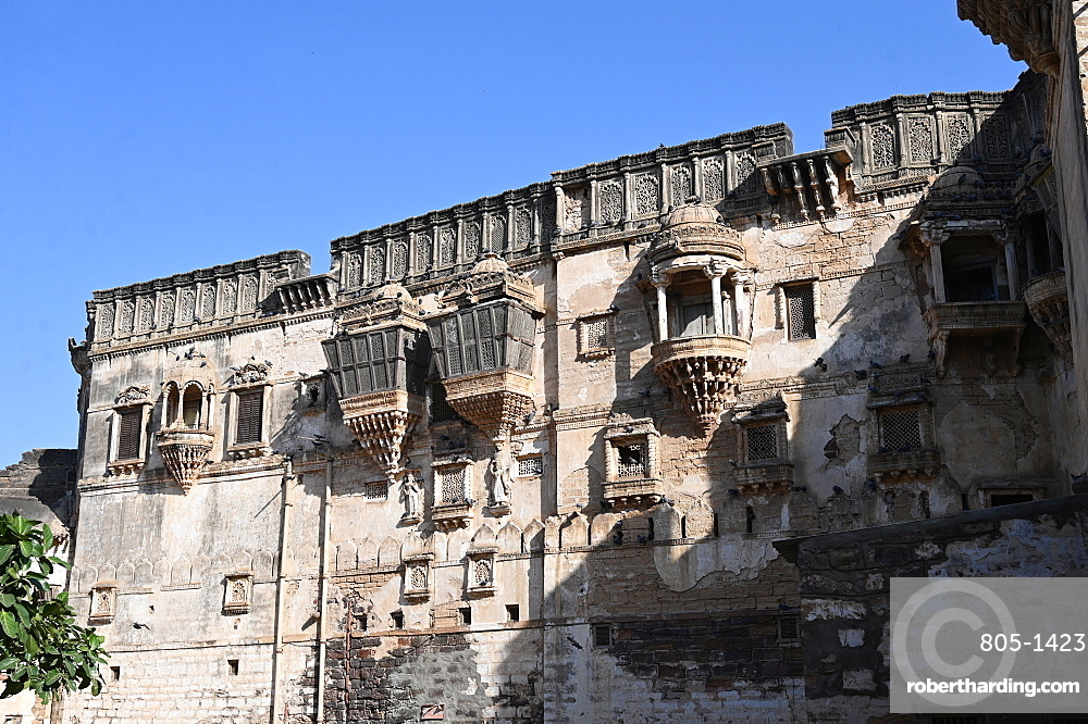 Facade of beautiful 18th century Aina Mahal, badly damaged in the 2001 earthquake, Bhuj, Gujarat, India, Asia