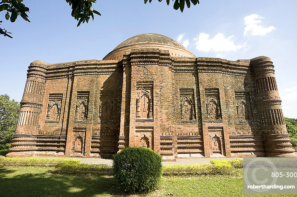 Beautiful red brick late 15th century Lattan mosque, remains of glazed colour on some bricks still visible, Gaur, West Bengal, India, Asia
