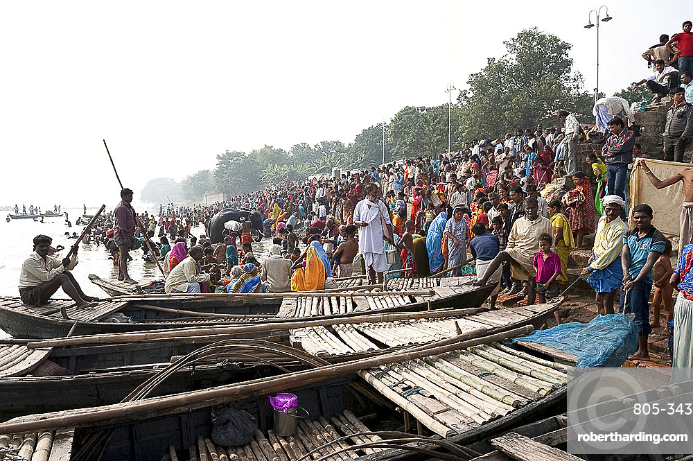 Wooden ferryboats with bamboo decking used to take people across the River Ganges between Patna and Sonepur Cattle Fair, Bihar, India, Asia